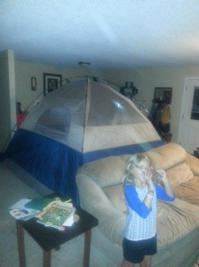 camping in the living room